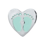 Baby Boy Foot Print Heart Floating Charm