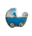 Blue Baby Boy Buggy Floating Charm