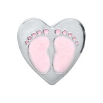 Baby Girl Foot Print Heart Floating Charm