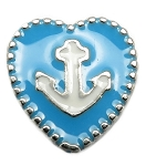 Blue Heart Anchor Floating Charm
