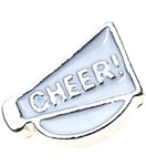 Cheer Megaphone Floating Charm White