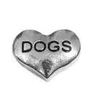Dogs Silver Heart Floating Charm