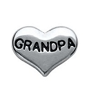 Grandpa Silver Heart Floating Charm