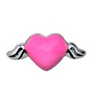 Hot Pink Heart with Wings