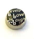 Live Laugh Love Floating Charm Black & Silver