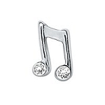 Musical Note Floating Charm Silver