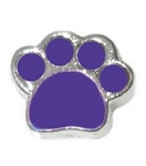 Paw Print Purple Floating Charm