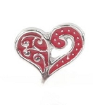 Red Swirl Heart Floating Charm