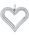Alloy Crystal Heart Locket with Free Chain