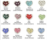 Birthstone Hearts with Crystals