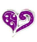 Purple Swirl Heart Floating Charm