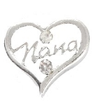 TJ Nana Silver Heart Floating Charm