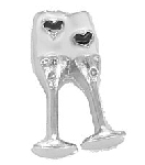 TJ Wedding Toasting Glasses Floating Charm