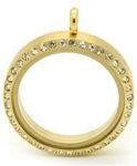 Gold Stainless Steel 30mm Floating Locket w/ Crystal Edge