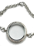 Alloy Silver Bracelet Floating Locket 30mm w/ Crystal Edge