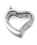 Alloy Free Form Heart w/ Crystal Edge Floating Locket