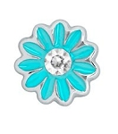 Aqua Blue Daisy w/ Crystal Floating Charm