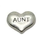 Aunt Silver Heart Floating Charm