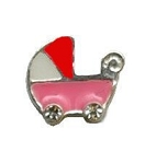 Pink Girl Baby Buggy Floating Charm