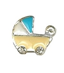 Yellow Baby Buggy Floating Charm