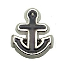 Black Anchor Floating Charm