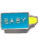 Blue Boy Baby Bottle Floating Charm