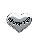 Daughter Silver Heart Floating Charm