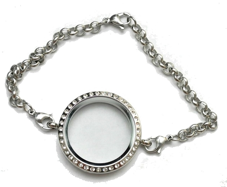 Silver Bracelet Floating Locket 30mm With Crystals Plus Great Deals On Lockets And Charms
