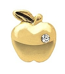 Golden Apple Floating Charm