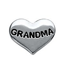 Grandma Silver Heart Floating Charm