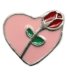 Rose Heart Floating Charm