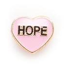 Hope Heart Floating Charm Pink