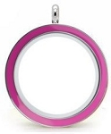 Light Pink Stainless Steel 30mm Floating Locket w/ Chain