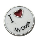 I Heart My Dogs Floating Charm
