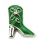 Ladies Western Green Boot Floating Charm