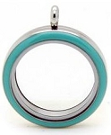 Light Blue Stainless Steel 30mm Floating Locket
