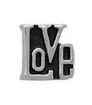 Love Floating Charm Black & Silver