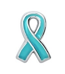Ovarian Cancer Awareness Light Blue Ribbon Floating Charm