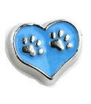 Paw Heart Blue Floating Charm