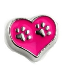 Paw Heart Pink Floating Charm