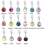 Faux Pearl Birthstone Dangle Charm