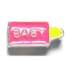 Pink Girl Baby Bottle Floating Charm