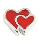 Red Double Heart Floating Charm