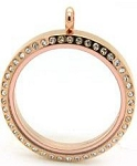 Rose Gold Floating Locket 30mm w/ Crystal Edge