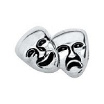 Silver Acting & Drama Masks Floating Charm