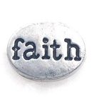 Silver Faith Oval Floating Charm