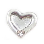 Silver Heart w/ Crystal