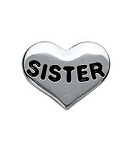 Sister Silver Heart Floating Charm