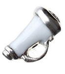 Cheerleader Megaphone Floating Charm White