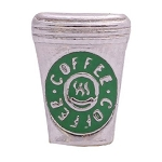 Silver and Green Coffee Cup Floating Charm